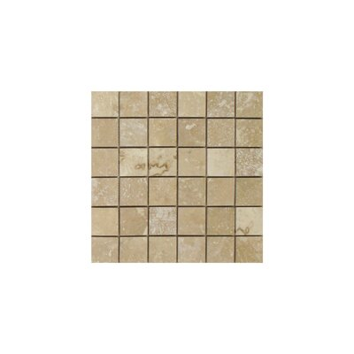 Light Filled 2 x 2 Travertine Mosaic Tile in Honed