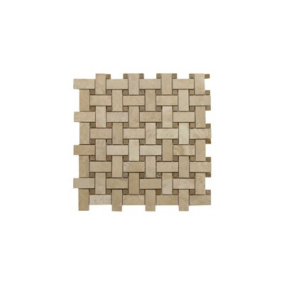 Light Filled Basketweave Noce Dot 1 x 2 Travertine Mosaic Tile in Honed