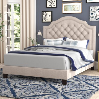 Julia Upholstered Panel Bed Size: Queen, Color: Beige