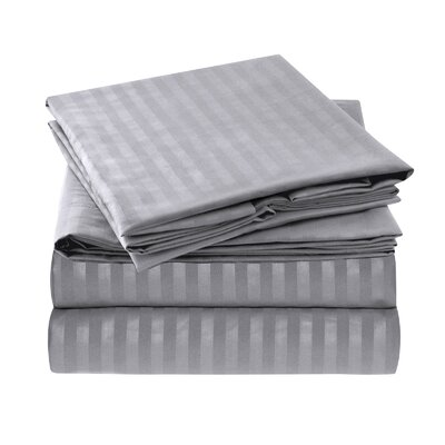 Hisle Stripe Microfiber Sheet Set Size: Queen, Color: Gray