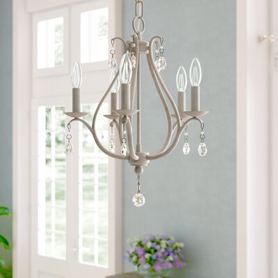 Palumbo 5-Light Mini Candle-Style Chandelier Finish: Antique Linen, Crystal Color: Clear