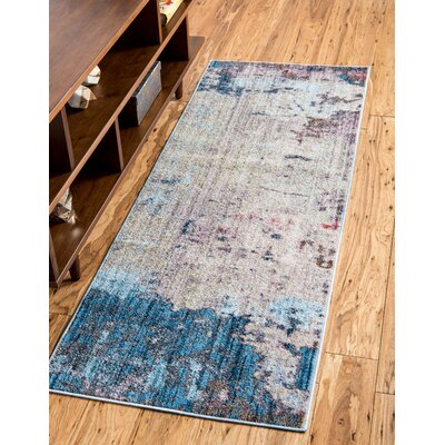 Downtown Greenwich Village Blue/Gray Area Rug Rug Size: Round 8