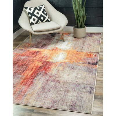 Downtown Flatiron Orange/Gray Area Rug Rug Size: Rectangle 4 x 6