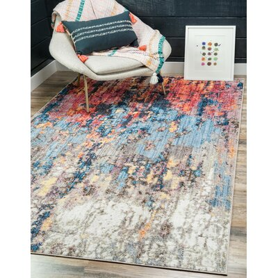 Downtown Chelsea Orange/Blue Area Rug Rug Size: Round 8