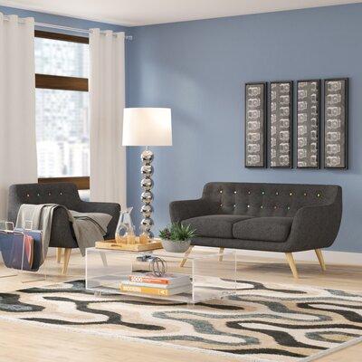 Meggie 2 Piece Living Room Set Upholstery: Gray