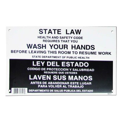 Wash Hand State Law Sign