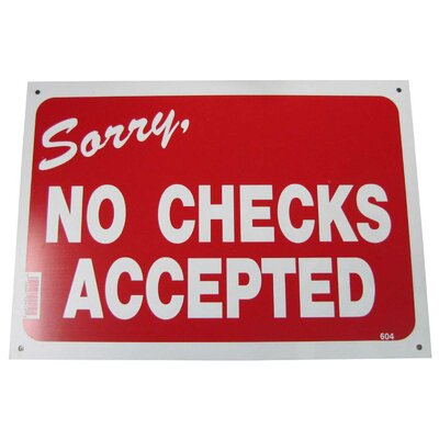 No Checks Accepted Sign