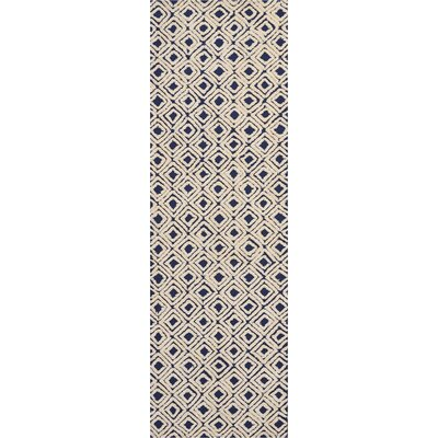Chism Deco Hand-Tufted Navy/Ivory Area Rug Rug Size: Runner 23 x 76