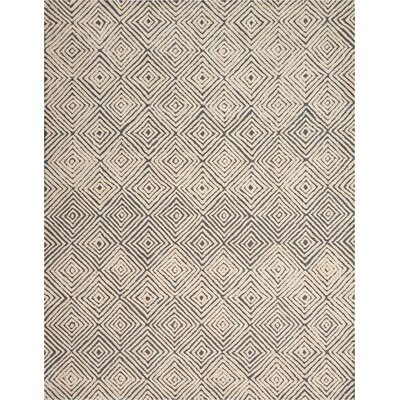 Chism Deco Hand-Tufted Gray/Ivory Area Rug Rug Size: Rectangle 8 x 106