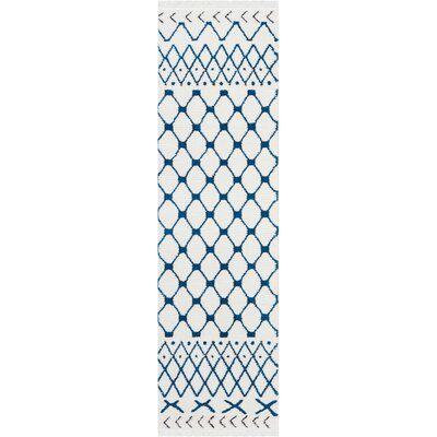 Penwell White/Blue Area Rug Rug Size: Runner 22 x 76