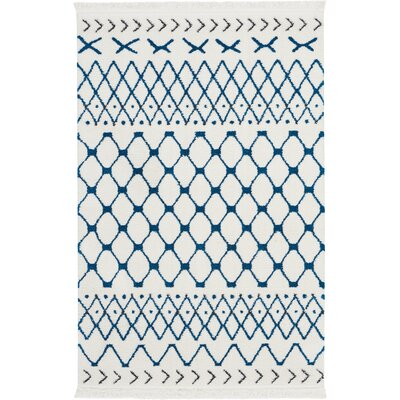 Penwell White/Blue Area Rug Rug Size: Rectangle 311 x 511