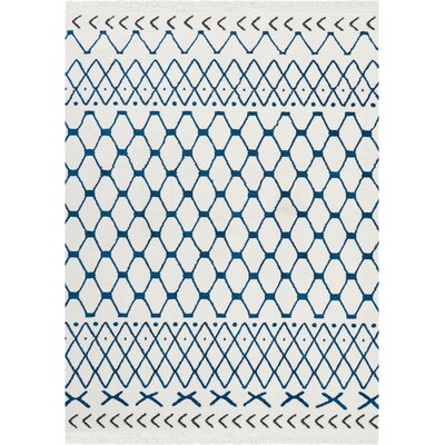 Penwell White/Blue Area Rug Rug Size: Rectangle 93 x 129