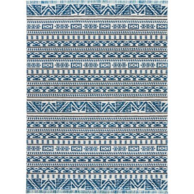 Penwell Ivory/Blue Area Rug Rug Size: Rectangle 93 x 129