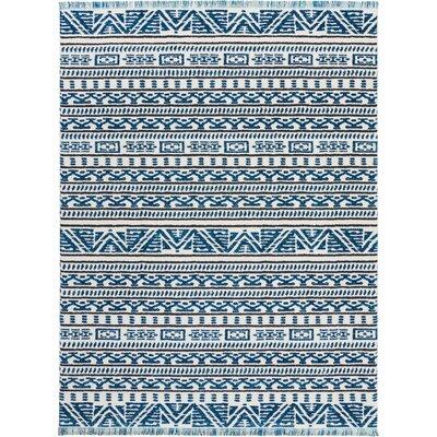 Penwell Ivory/Blue Area Rug Rug Size: Rectangle 93 x 129