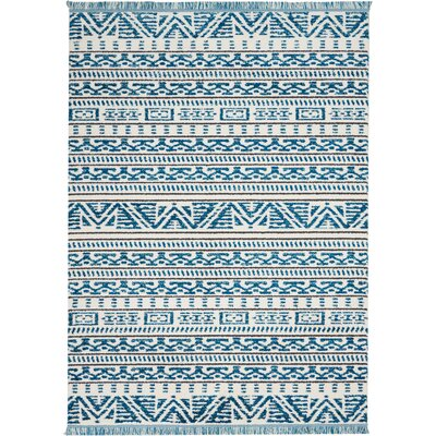 Penwell Ivory/Blue Area Rug Rug Size: Rectangle 53 x 73