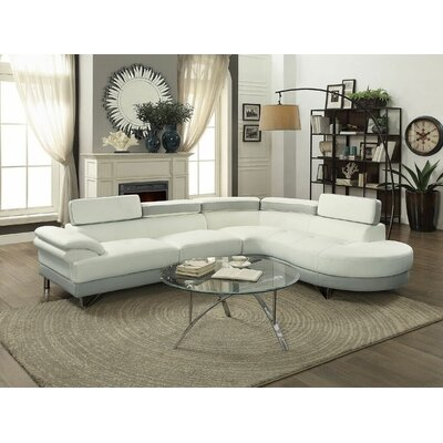Streeter Sectional Upholstery: White/Light Gray
