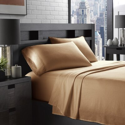 Etting Flannel 200 Thread Count 100% Cotton Sheet Set Size: Full/Double, Color: Camel