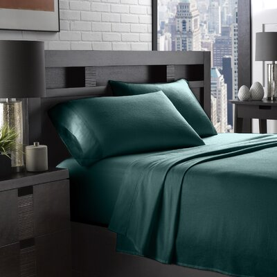 Etting Flannel 200 Thread Count 100% Cotton Sheet Set Size: Twin, Color: Hunter Green
