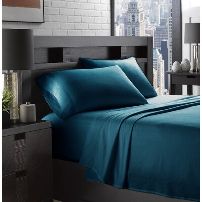Etting Flannel 200 Thread Count 100% Cotton Sheet Set Size: Full/Double, Color: Teal