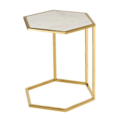 Phillipps Hex C End Table Table Base Color: Gold, Size: 23.5 H x 17.7 W x 15.3 D