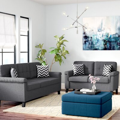 Carli 2 Piece Living Room Set Upholstery: Blue / Grey