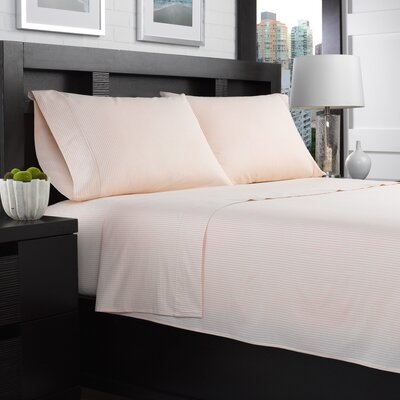 Etzel Percale Striped 200 Thread Count 100% Cotton Sheet Set Size: Queen, Color: Coral