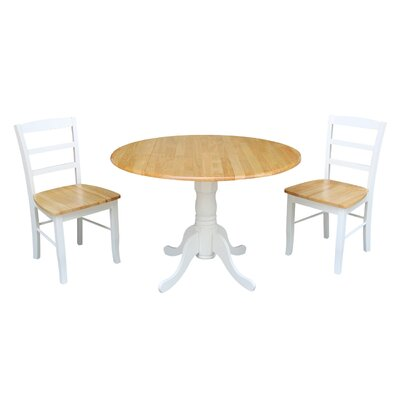 Highsmith 3 Piece Drop Leaf Dining Set Finish: White/Natural