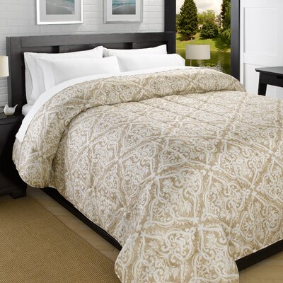 Printed Lightweight Down Alternative Comforter Size: Full/Queen, Color: Taupe