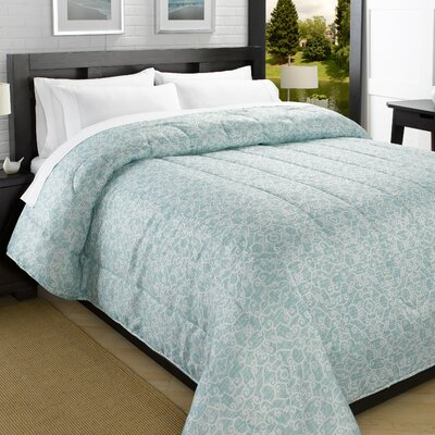 Printed Lightweight Down Alternative Comforter Size: King, Color: Turquoise