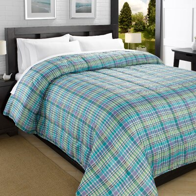 Plaid Printed Lightweight Down Alternative Comforter Size: King, Color: Turquoise