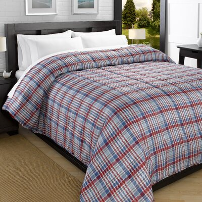 Plaid Printed Lightweight Down Alternative Comforter Size: Twin, Color: Red/Navy