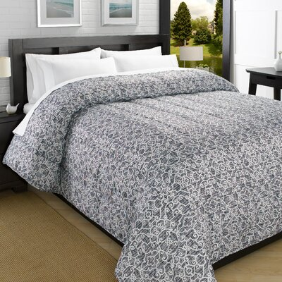 Printed Lightweight Down Alternative Comforter Size: Full/Queen, Color: Gray