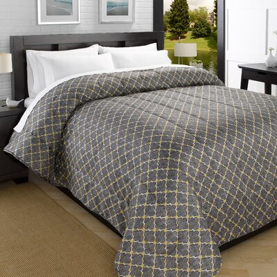 Iconic Printed Lightweight Down Alternative Comforter Size: King, Color: Gray