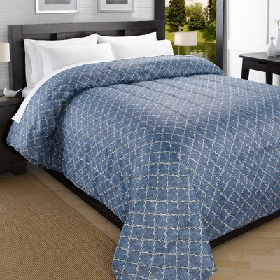 Iconic Printed Lightweight Down Alternative Comforter Size: King, Color: Blue