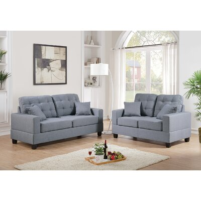 Draeger 2 Piece Living Room Set Upholstery: Gray