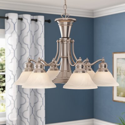 Omaha 6-Light Shaded Chandelier Finish: Brushed Nickel