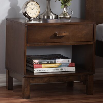 Hessler 1 Drawer Nightstand Color: Dark Brown