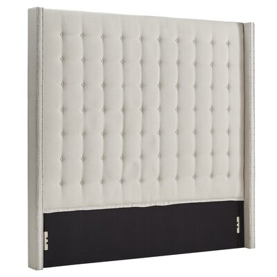 Luxullian Button Tufted Upholstered Wingback Headboard Color: White, Size: King