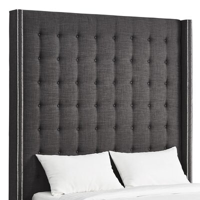 Luxullian Button Tufted Upholstered Wingback Headboard Color: Dark Gray, Size: Queen