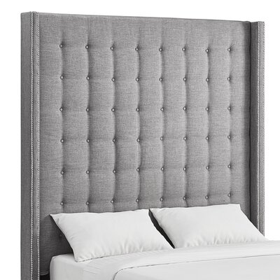 Luxullian Button Tufted Upholstered Wingback Headboard Color: Gray, Size: Queen