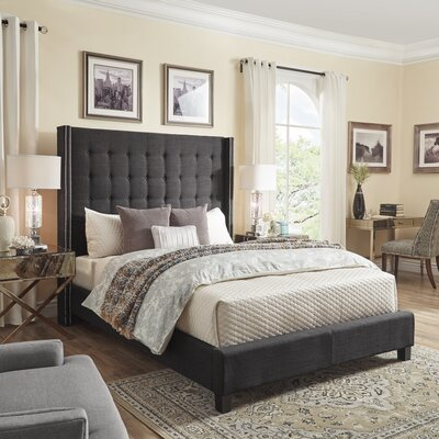 Luxullian Button Tufted Platform Bed Color: Dark Gray, Size: Queen