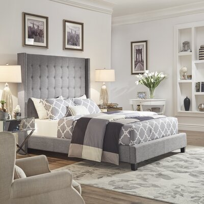 Luxullian Button Tufted Platform Bed Color: Gray, Size: King