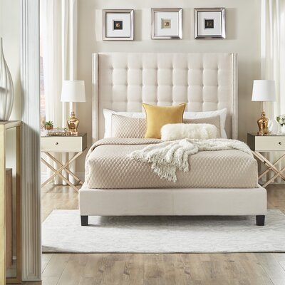 Luxullian Button Tufted Platform Bed Color: White, Size: Queen