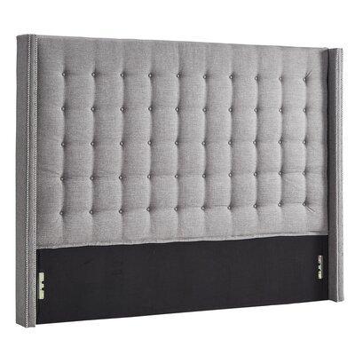 Luxullian Button Tufted Upholstered Wingback Headboard Color: Gray, Size: King