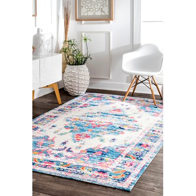 Pensford Blue/Pink Area Rug Rug Size: Rectangle 8' x 10'