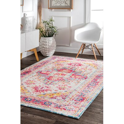 Penrod Blue/Pink Area Rug Rug Size: Rectangle 5 x 8