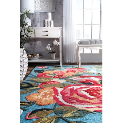 Errico Hand-Tufted Blue/Green Area Rug Rug Size: Rectangle 5 x 8