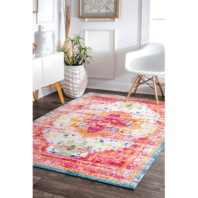 Penrod Pink/Yellow Area Rug Rug Size: Rectangle 8' x 10'