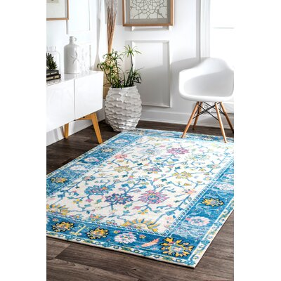 Pensford Blue/Cream Area Rug Rug Size: Rectangle 5' x 8'