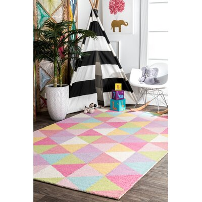 Doughton Hand-Hooked Wool Pink/Yellow Area Rug Rug Size: Rectangle 5 x 8